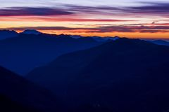 Sunset over mountain range Stock Photos