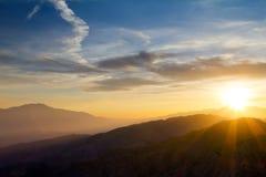 Sunset Over Mountain Range Stock Photos