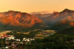 Sunset over mountain range. An impressive sunset over mountain range in Mae-Hong-Son province, the northern part of Thailand stock photo