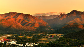 Sunset over mountain range in Mae Hong Son. An impressive sunset over mountain range in Mae Hong Son province, the northern part of Thailand royalty free stock photo