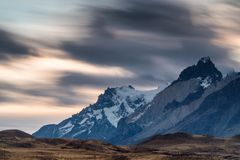 Sunset over the mountain range of Torres del Paine Royalty Free Stock Image
