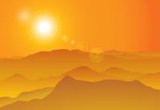 Sunset over mountain ridge Royalty Free Stock Photos