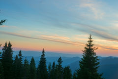 Sunset over the mountain ridge. Stock Photography