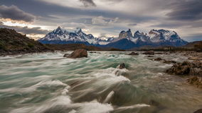Sunset over the mountain river and mountain scenery. Parque Torres del Paine, Patagonia, Chile stock footage