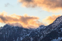 Sunset over the mountain Royalty Free Stock Photography