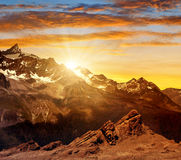 Sunset over the mountain Zinalrothorn Royalty Free Stock Photography