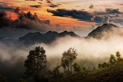 Sunset over the mountainlandscape view Stock Image