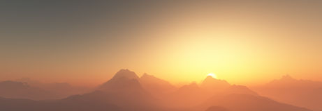 Sunset over mountains Royalty Free Stock Images