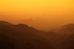 Sunset over mountains. Somewhere in Jordan stock images