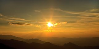 Sunset over mountains Royalty Free Stock Image