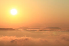 Sunset over the mountains Royalty Free Stock Photography