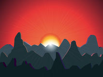 Sunset over mountains  background Stock Photo