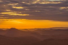 Sunset over the mountains stock image