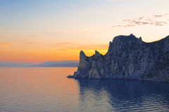 The sunset over the mountains of the Crimea and the Black sea. Royalty Free Stock Photography