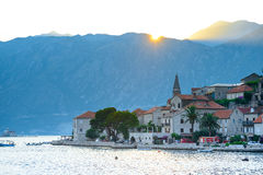 Sunset over Mountains and Famous Ancient Perast Town on Kotor Bay, Montenegro, Europe. Stock Photography