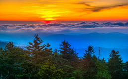 Sunset over mountains and fog from Clingman's Dome Observation T Stock Photography