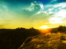 Sunset over the  mountains forest landscape. Stock Images