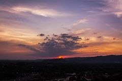 Sunset over mountains or hills Royalty Free Stock Photos