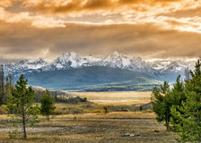 Sunset over mountains in Idaho Royalty Free Stock Photography