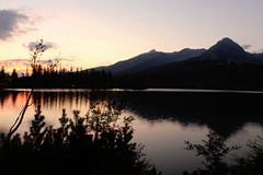 Sunset over the mountains. Sunset with the Lake and mountains royalty free stock images