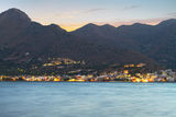 Sunset over the mountains at Mirabello Bay. On Crete, Greece Stock Photo