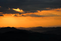 Sunset over mountains no.1 Royalty Free Stock Photography