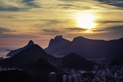 Sunset over mountains in Rio de Janeiro Royalty Free Stock Image