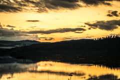 Sunset over mountains. Snapped this on the way back from a trip to Norway Stock Images