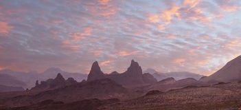 Sunset Over the Mule Ears Big Bend National Park. Panorama of the Sunset Over the Mule Ears, Big Bend National Park Stock Photography