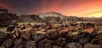 Sunset over the mystical ruins of the ancient Mayan city of Teot Royalty Free Stock Images