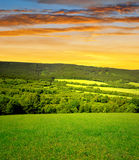 Sunset over National park Sumava Royalty Free Stock Images