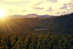 Sunset over the National park Sumava Royalty Free Stock Image