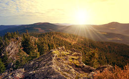 Sunset over the National park Sumava Stock Photos