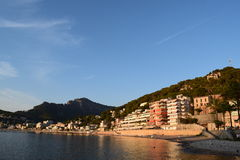 Sunset over natural harbor of Port de Soller on Majorca Stock Photography