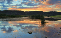 Sunset over the nature lake Boorooberongal Royalty Free Stock Photos
