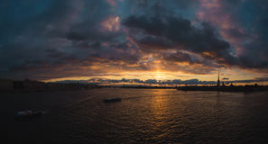 Sunset over the Neva. Royalty Free Stock Photography