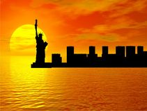 Sunset over New York. With Liberty statue silhouette Stock Illustration