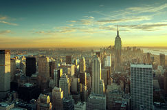 Sunset over new york city. Colorful sunset over the skyline of New York city