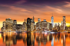 Sunset over New York City`s Financial District Royalty Free Stock Image