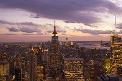 Sunset over New York City Skyscrapers Stock Photo