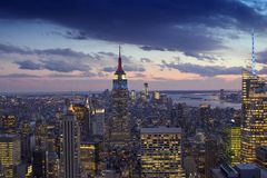 Sunset over New York City Skyscrapers Royalty Free Stock Photography