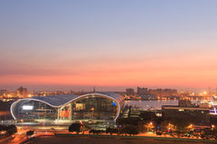 Sunset over the newly opened Kaohsiung Exhibition Center. Royalty Free Stock Images