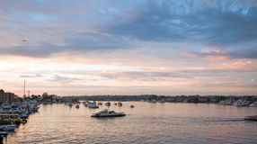 Sunset over Newport Beach Harbor in southern California USA. Sunset over Newport Beach Harbor in southern California United States stock photography