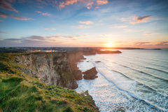 Sunset over Newquay Stock Images