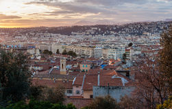 Sunset over Nice - French Riviera Royalty Free Stock Image