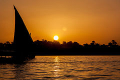 Sunset over Nile in Egypt Royalty Free Stock Images
