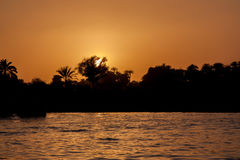 Sunset over Nile in Egypt Stock Image