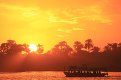 Sunset over the Nile river, Luxor Stock Image
