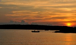 Sunset Over Niles Beach. Brilliant sunset shot from Niles Beach in Gloucester, MA stock photo