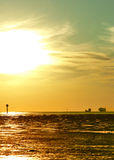 Sunset over the North Sea coast Stock Image